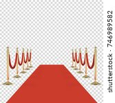 red carpet with red rope ... | Shutterstock .eps vector #746989582