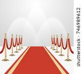 red carpet with red ropes on... | Shutterstock .eps vector #746989612