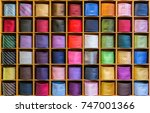 showcase with multicolored ties....   Shutterstock . vector #747001366