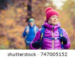 happy couple hikers camping in... | Shutterstock . vector #747005152