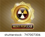 gold emblem or badge with... | Shutterstock .eps vector #747007306
