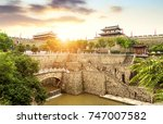 xi'an ancient city wall and... | Shutterstock . vector #747007582