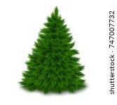 bushy unadorned christmas tree... | Shutterstock .eps vector #747007732