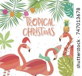 tropical christmas greeting... | Shutterstock .eps vector #747013678