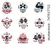 set of vector heavy load theme... | Shutterstock .eps vector #747017722