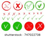 check mark and cross signs.... | Shutterstock .eps vector #747022738