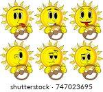 cartoon sun driving  holding a... | Shutterstock .eps vector #747023695