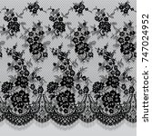 seamless vector black lace... | Shutterstock .eps vector #747024952