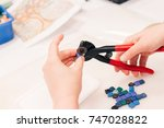 workplace of the mosaic master  ...   Shutterstock . vector #747028822
