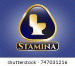 gold badge or emblem with wc... | Shutterstock .eps vector #747031216