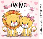 two cute cartoon lions on a... | Shutterstock .eps vector #747035716