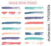 modern watercolor daubs set ... | Shutterstock .eps vector #747035836