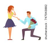 young happy couples in love ... | Shutterstock . vector #747043882