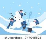 children build snowman in... | Shutterstock .eps vector #747045526
