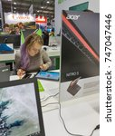 Small photo of KIEV, UKRAINE - OCTOBER 07, 2017: People visit Acer, a Taiwan based international computer company booth during CEE 2017, the largest electronics trade show of Ukraine in ExpoPlaza Exhibition Center.