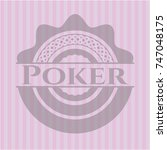 poker badge with pink background | Shutterstock .eps vector #747048175
