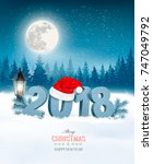 happy new year 2018 background... | Shutterstock .eps vector #747049792