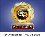 gold shiny badge with currency ... | Shutterstock .eps vector #747051406