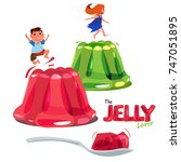 Kid jumping or playing on colorful jelly. jelly lover concept. logotype come with spoon of jelly - vector illustration