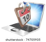 Laptop desk calendar concept - stock vector