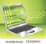 A conceptual business technology background. Woman avatar face forming and coming out of laptop screen. - stock vector