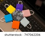 six paper shopping bags put in... | Shutterstock . vector #747062206