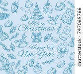 merry christmas and happy new... | Shutterstock .eps vector #747069766