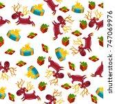seamless christmas background... | Shutterstock .eps vector #747069976
