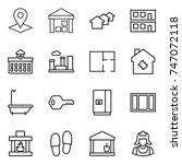 thin line icon set   pointer ...   Shutterstock .eps vector #747072118