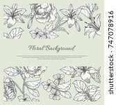vintage floral background with... | Shutterstock .eps vector #747078916