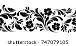 outline floral seamless pattern.... | Shutterstock .eps vector #747079105