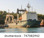 military navy ships in a sea... | Shutterstock . vector #747082942