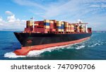 large container ship at sea  ... | Shutterstock . vector #747090706