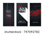 black friday sale flyers set... | Shutterstock .eps vector #747092782