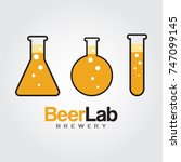 beer lab logo. lab bulb with... | Shutterstock .eps vector #747099145