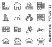 thin line icon set   mansion ... | Shutterstock .eps vector #747101416