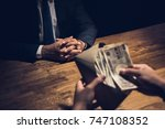 businessman counting money ... | Shutterstock . vector #747108352