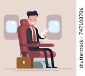 businessman or manager flies in ... | Shutterstock .eps vector #747108706