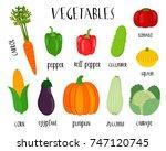 bright flat vegetables vector... | Shutterstock .eps vector #747120745