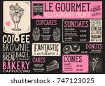 dessert menu for restaurant and ... | Shutterstock .eps vector #747123025