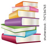 stack of books | Shutterstock .eps vector #747136765
