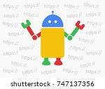 bot and web robot is choosing... | Shutterstock .eps vector #747137356