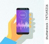 voice recognition. intelligent... | Shutterstock .eps vector #747145216