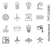 thin line icon set   bulb ... | Shutterstock .eps vector #747153082