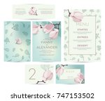 wedding invitation with flowers ... | Shutterstock .eps vector #747153502