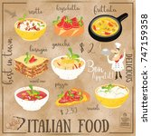 italian food menu card with... | Shutterstock .eps vector #747159358