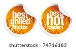 best hot chicken stickers set. | Shutterstock .eps vector #74716183
