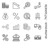 thin line icon set   coin stack ... | Shutterstock .eps vector #747164656