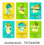 set of colorful fast food... | Shutterstock .eps vector #747166438