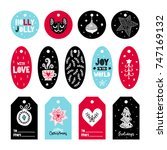 christmas vector tags... | Shutterstock .eps vector #747169132